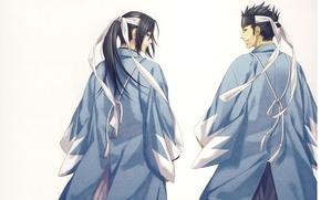 Картинка улыбка, самурай, плащ, японская одежда, Демоны бледной сакуры, Hakuouki Shinsengumi Kitan, Hijikata Toushirou, со спины, …