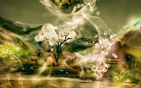Обои цветы, деревья, фантастика, лошадь, яблоки, олень