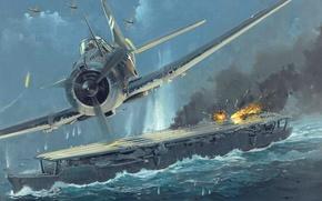 Картинка небо, огонь, рисунок, взрывы, арт, авианосец, сражение, самолёты, японские, WW2, американские, ВМФ Японии, «Дзуйхо», залив …