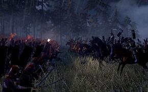 Картинка война, битва, всадники, ночью, самураи, Total war