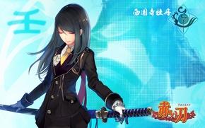 Картинка девушка, меч, катана, арт, tachikawa mushimaro, akai katana shin, akai katana