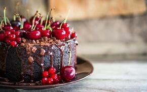 Картинка вишня, шоколад, торт, cake, десерт, выпечка, сладкое, chocolate, sweet, cherry, baking