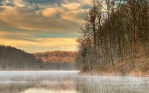 Картинка Landscape, fog, Tucker Lake