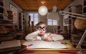 Картинка комната, девочка, карандаш
