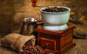 Картинка wall, coffee, bags, wood beads, machine for grinding coffee