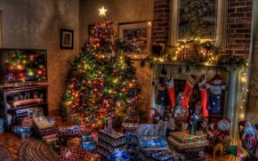 Картинка елка, новый год, подарки, Праздник