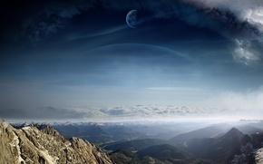 Картинка облака, пейзаж, горы, планеты, вид, арт, A Dreamy World
