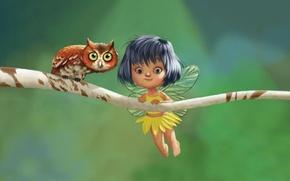 Обои девочка, рисунок, ветка, сова