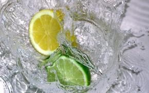 Картинка вода, брызги, лимон, лайм, цитрус