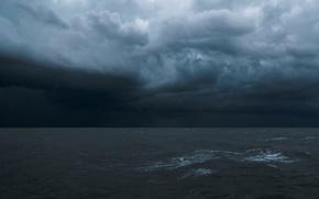 Картинка волны, вода, тучи, шторм, Море