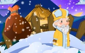 Картинка зима, вектор, открытка, День Святого Николая