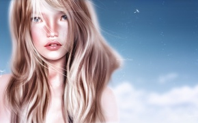 Картинка девушка, волосы, портрет, блондинка, реалистичность