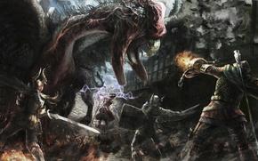 Картинка Warrior, Game, Dragon's Dogma, Strider, Fighter, Sorcerer, Cockatrice