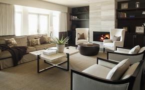 Обои комната, дизайн, интерьер, квартира, стиль. диван, кресло, камин, огонь