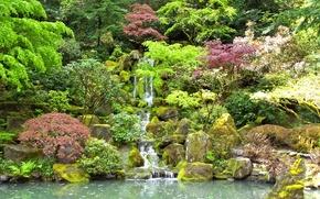 Обои камни, сад, водопад, деревья, кусты, пруд, мох