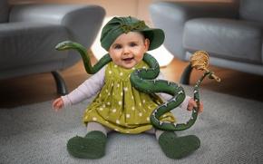 Картинка змея, девочка, ребёнок, укротитель