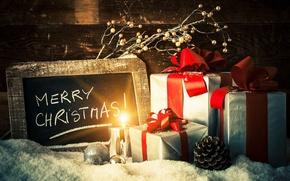 Картинка шарики, снег, праздник, игрушки, доски, новый год, рождество, свеча, ветка, подарки, шишка, коробки