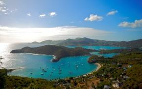 Обои природа, залив, берег, бухта, яхты, катера, океан, изгиб, небо