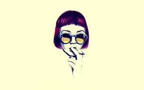 Картинка глаза, девушка, жёлтый, волосы, очки, сигарета, минимал, курящая