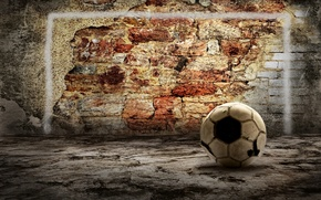 Картинка стена, мяч, кирпич, wall, ball, brick