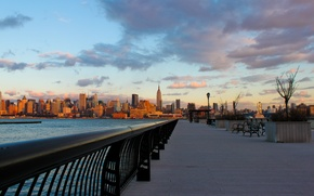 Обои new york, небоскрёбы, city, город, вечер, вода, нью йорк, набережная, закат