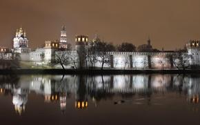 Картинка вечер, монастырь, новодевичий