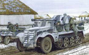 Картинка арт, солдаты, дорога, Вторая мировая война, противотанковая, 50-мм, деревня, САУ, улица, 5cm, рисунок, PaK38 (Sf), ...