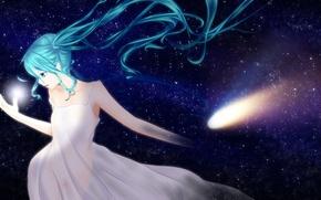 Обои ponta, hatsune miku, арт, аниме, девушка, звезды, небо, vocaloid