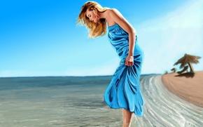 Картинка арт, пляж, песок, море, Prabhu K, волны, настроение, девушка, платье