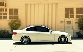 Картинка бмв, BMW, профиль, белая, white, E92, 328i, 3 серия, MRR Wheels