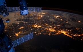 Картинка огни, города, океан, МКС, Филадельфия, Бостон, Союз, Прогресс, Северная Америка, Питсбург, Атлантика