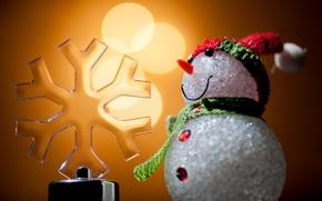 Обои снеговик, игрушка, праздник