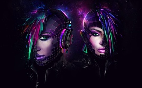 Картинка дизайн, девушки, шлем