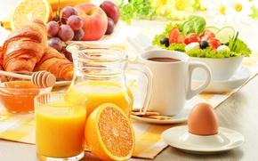 Картинка греческий салат, кружка, помидоры, печенье, тарелка, круассаны, маслины, стакан, виноград, кувшин, салфетка, мёд, огурцы, яблоко, ...