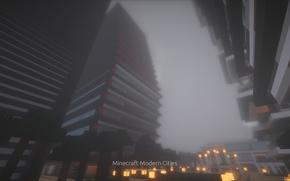 Картинка Дождь, Небоскребы, Minecraft