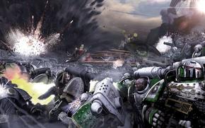 Картинка битва, Neil Roberts, warhammer 40K, Galaxy in Flames, Sons of Horus, Death Guard