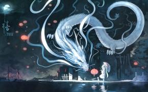 Обои кошка, hatsune miku, арт, пристань, зонт, yuushouku, город, луна, дракон, ночь, фонарь, vocaloid