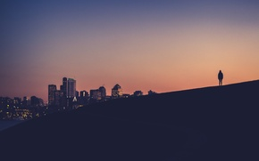 Картинка hill, Eastlake, twilight, sunset, Seattle, dusk, silhouette, Washington, downtown, person