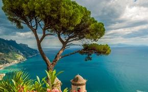 Картинка солнечно, цветы, вид сверху, Италия, горы, побережье, дерево, море, Ravello, облака, небо, горизонт, высота