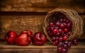 Обои ягоды, корзина, яблоки
