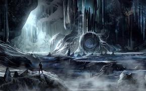Картинка человек, пещера, холод, арт, лед