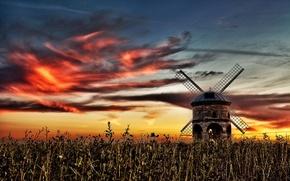 Картинка поле, закат, мельница