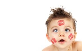 Обои детство, ребенок, красивая, beautiful, child, baby, funny, childhood, веселые, большие голубые глаза, big blue eyes, ...