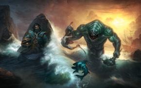 Картинка море, чудовище, kunkka, dota 2, Tidehunter, брег