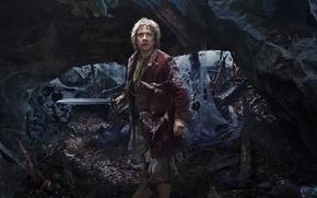 Картинка Bilbo, Martin Freeman, The Hobbit: An Unexpected Journey, Хоббит: Нежданное путешествие, Мартин Фриман, фэнтези, меч, ...