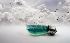 Картинка птицы, фон, лампа