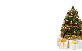 Картинка праздник, минимализм, подарки, Новый год, ёлка