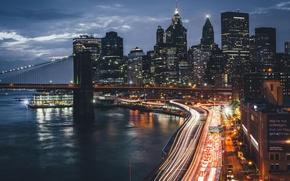 Обои США, город, Нью Йорк, ночь, мост, огни