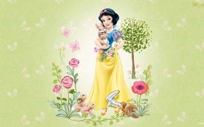 Обои цветы, животные, дисней, белоснежка, мультфильм, детская, девушка, звери, дружба
