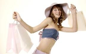 Картинка улыбка, шляпа, топик, сумка, покупки